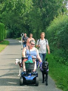 Walking at a safe distance with our community members and their dogs